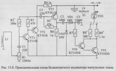 Бесконтактный индикатор импульсных токов